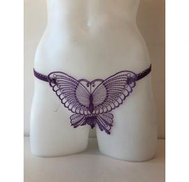 649 Butterfly Crotchless Purple O/S