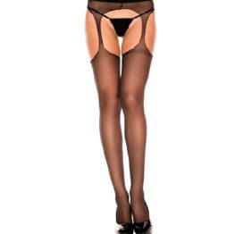 Sheer Suspender PantyHose Blk OS