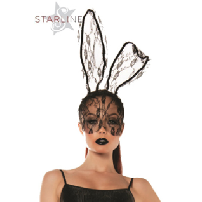 Lace Bunny Mask Blk OS
