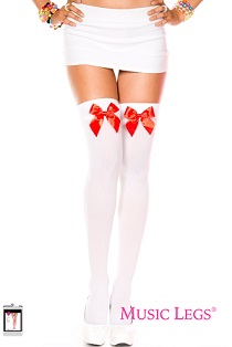 4742 Satin Red Bow T/H White