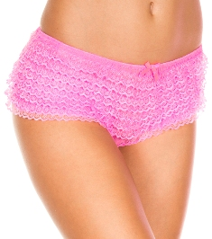 115 Ruffle Tanga Short Neon pink