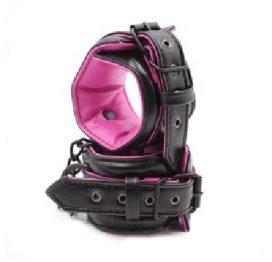 Hot Pink & Black Padded Wrist Cuffs