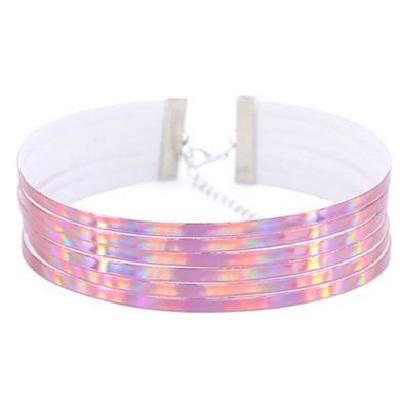 Holigraphic Choker Luminous Ribbed