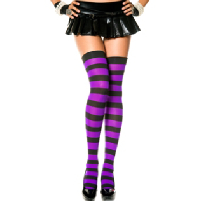 Opaque Wide Striped Thi High Blk/Purp OS