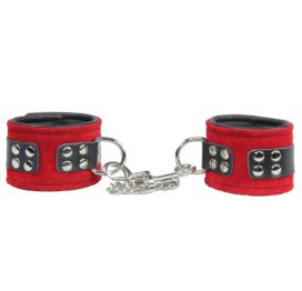 Ankle Cuffs Red Suede - Chain d