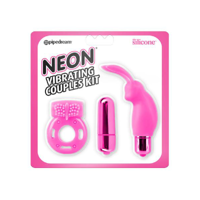 Neon Vibrating Couples Kit Pink