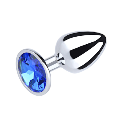Metal Plug Blue Sml Rnd Gem