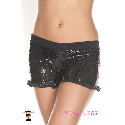 Sequin Ruffle Trim Shorts