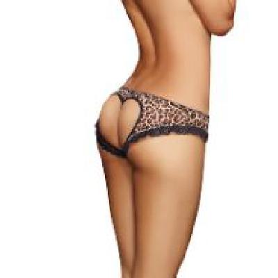 Open Heart Back Pant Leopard Lge