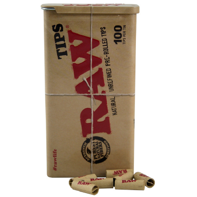 Raw Pre Rolled Tips in a Tin