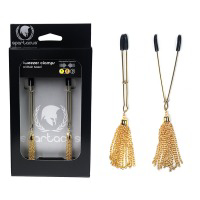 Tweezer Clamps with Chain Tassel Gold