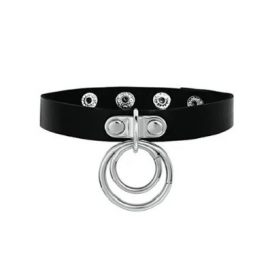 Leather Choker Blk dbl Ring