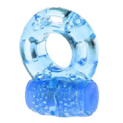 Jelly Cock Ring Vibrating Blue