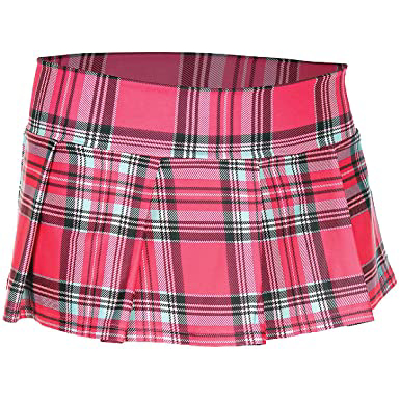 School Girl Skirt Hot Pink Plaid SM