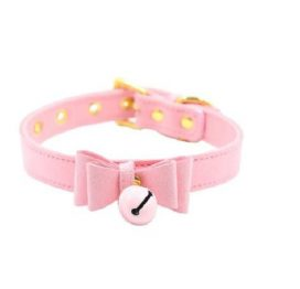 Bow Collar with Cat Bell Pink