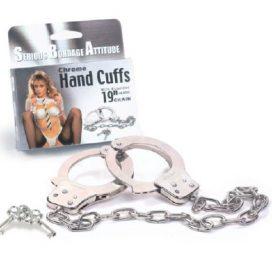 """Chrome hand Cuffs 19"""" Chain"""