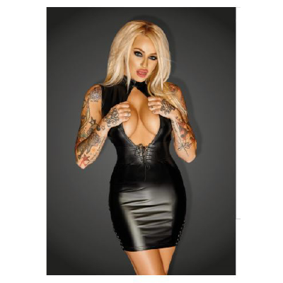 f127-xl Mini Dress with Leather and Lace