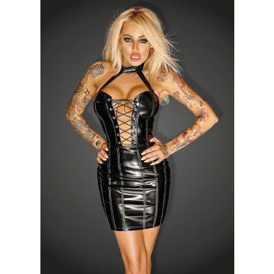 f141-xl Mini Dress with Ecoleather Trim