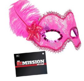 Sex Mission Feathered Lace Mask HPink