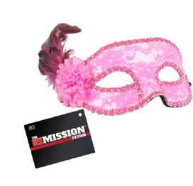 Sex Mission Feathered Lace Mask Pink