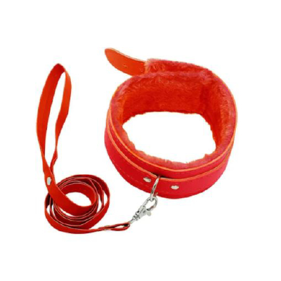 BB Fur Lined Collar & Chain Lead Red