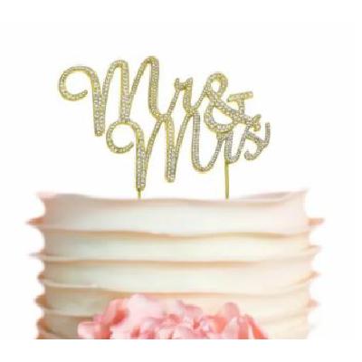Cake Topper Gold Mr & Mrs Diamante