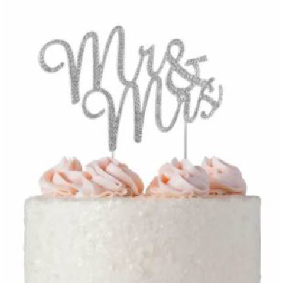 Cake Topper Silver Mr & Mrs Diamante