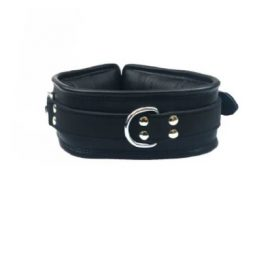 Padded Leather Collar Black