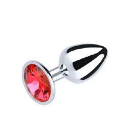 Metal Plug Small Red Round Gem