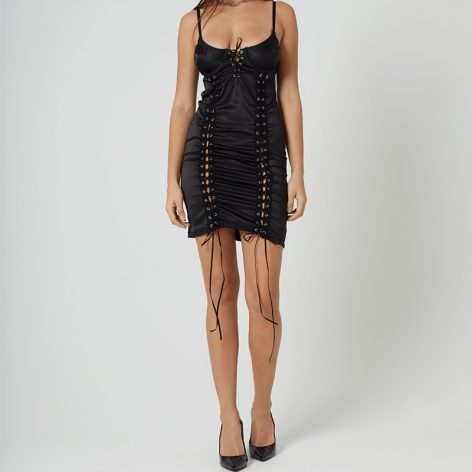 Lace Up Dress Black Medium