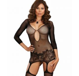 Dreamgirl Fishnet Garter Dress Black