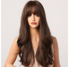 Wig Long Dark Brown with Fringe