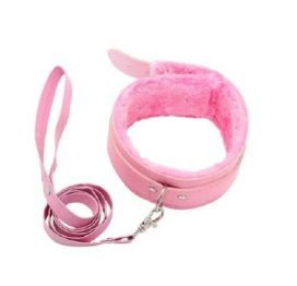 BB Fur Lined Collar & Chain Lead Pink